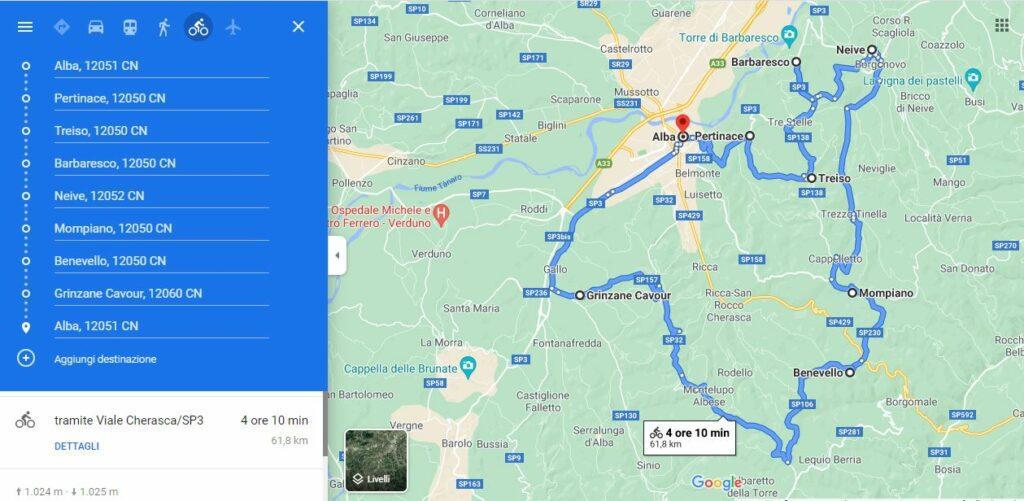 Giro del Nebbiolo, tour map (google maps)